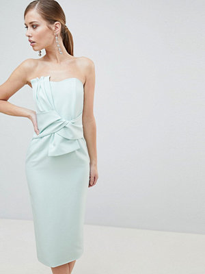 Lavish Alice Bandeau Midi Dress with Bow Detail