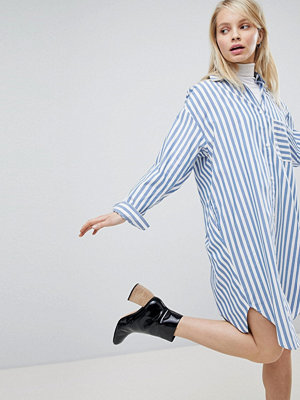 Monki Oversized Striped Shirt Dress - Blue white stripes