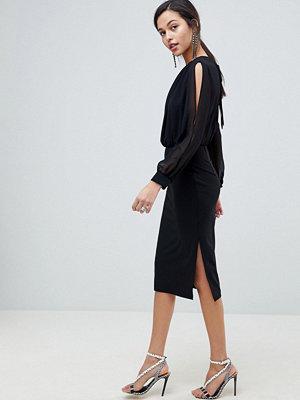 ASOS DESIGN woven mix pencil dress with split sleeve