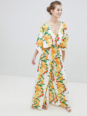 ASOS DESIGN kimono jumpsuit in fruit print
