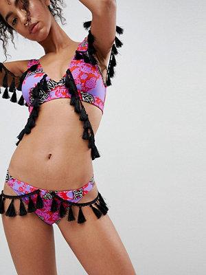 ASOS DESIGN fierce print tassel trim tanga bikini bottom