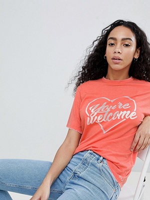 "ASOS DESIGN Orange t-shirt med ""You're Welcome""-tryck"