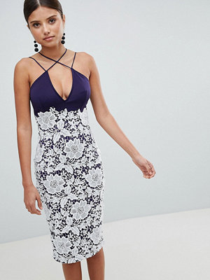 Girl In Mind Lace Cross Strap Midi Dress
