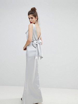 True Violet Satin Bow Back Maxi Dress