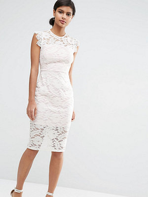 ASOS Petite Lace Pencil Dress with Contrast Lining - Ivory