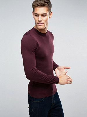 ASOS Muscle Fit Cotton Jumper In Burgundy - Burgundy