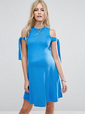 ASOS Maternity Swing Dress with Seam Detail Hem and Tie Sleeve - Cobalt