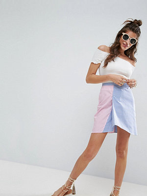 ASOS Asymmetric Hem Mini Skirt with Stripe and Gingham Mix