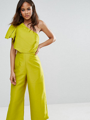 Asos Tall Bow One Shoulder Wide Leg Culotte Jumpsuit