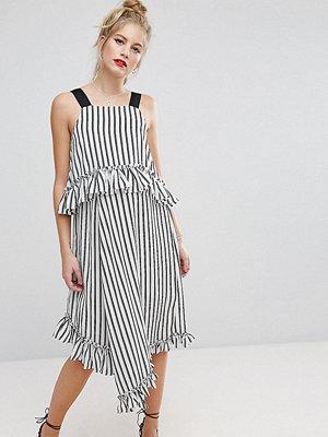 ASOS Maternity Midi Dress with Ruffle Detail and Grosgrain Straps in Mono Stripe - Mono stripe