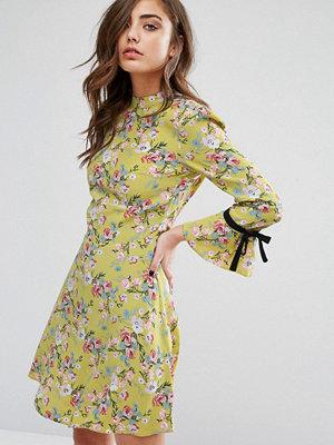 Miss Selfridge High Neck Tie Sleeve Floral Tea Dress