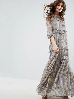 Needle & Thread Lace Maxi Dress With Ruffle Neck - Dust blue print