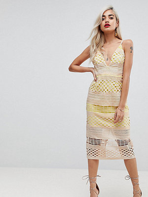 ASOS Petite Hitchcock Graphic Lace Midi Pencil Dress - Yellow