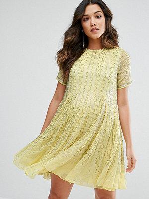 ASOS Maternity Bugle Beaded Skater Dress - Lemon