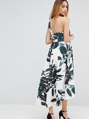 ASOS Maternity Scuba Palm Print Dip Back One Shoulder Midi Dress
