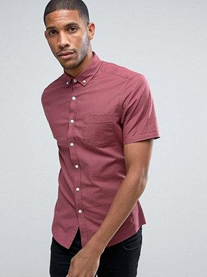 ASOS Casual Regular Fit Oxford Shirt In Maroon