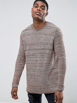 ASOS Longline Knitted Jumper in Rust and Brown Twist