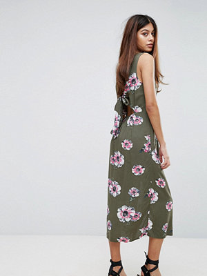 Warehouse Ocean Floral Tie Back Dress