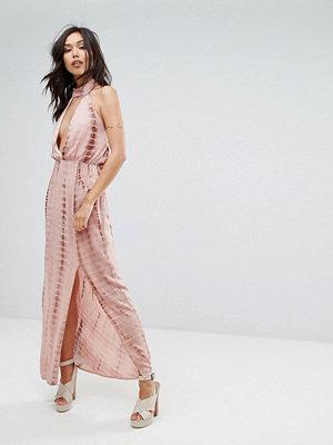 Missguided Tie Dye Halterneck Side Split Maxi Dress - Nude