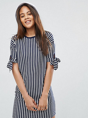 Asos Tall T-Shirt Dress in Stripe with Bow Sleeve