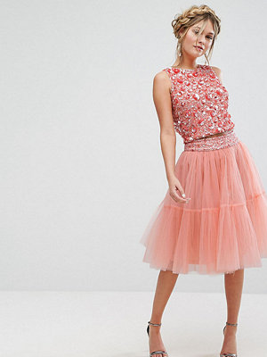 Lace and Beads Lace & Beads Tulle Layered Midi Skirt Co-ord - Peach
