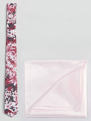 ASOS Wedding Pink Floral Tie & Pink Pocket Square