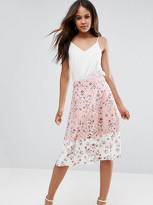 Vesper Tall Midi Skirt In Floral Print With Contrast Border