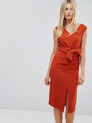 Closet London Closet Midi Dress with Tie Front