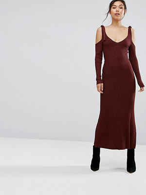 Warehouse Knitted Cold Shoulder Maxi Dress