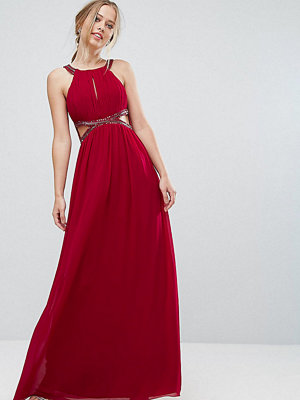 Little Mistress Chiffon Maxi Dress With Cut Outs and Embellishment
