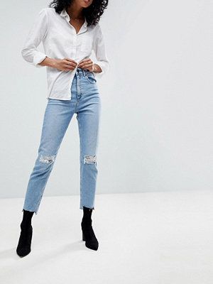 ASOS DESIGN Farleigh high waist slim mom jeans in zaliki light vintage wash with busted knee and rip & re
