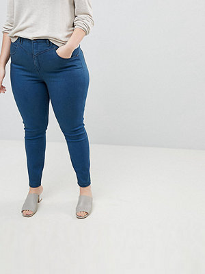 ASOS Curve RIDLEY High Waist Skinny Jeans With Gia Styling In Freddie Dark Blue Wash