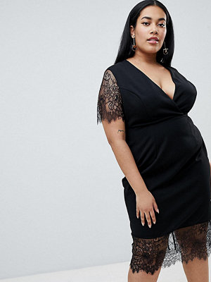 ASOS Curve ASOS DESIGN Curve Pencil Dress With V Neck And Lace Sleeves And Hem