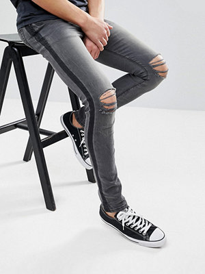 ASOS Slim Jeans In Washed Black With Side Stripe