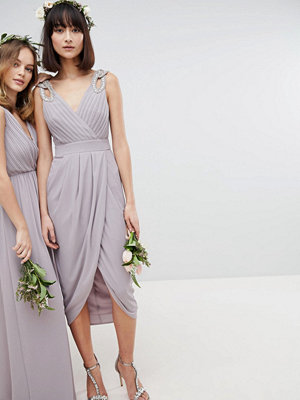 TFNC Wrap Midi Bridesmaid Dress With Embellished Shoulder
