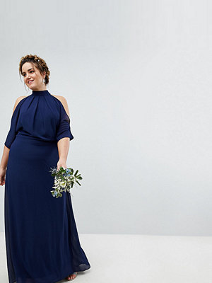 TFNC Plus High Neck Maxi Bridesmaid Dress With Fishtail