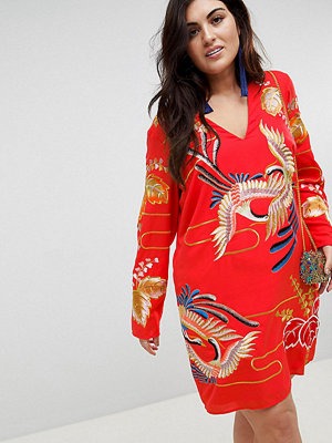 ASOS Curve ASOS DESIGN Curve mini dress with gold embroidery