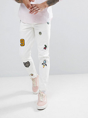 ASOS Skinny Jeans In White With Patches