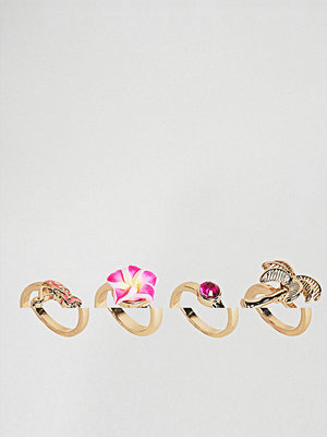 ASOS DESIGN pack of 4 palm trees and flamingo rings