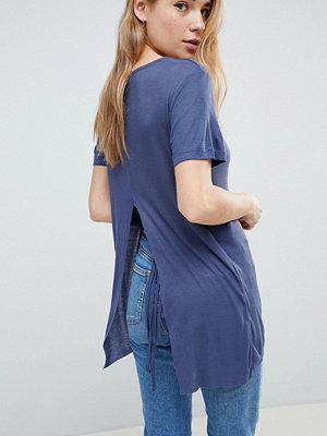 Brave Soul T-shirt i oversize med slits i ryggen Indigo