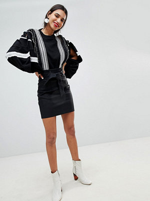Lost Ink Mini Skirt In Faux Leather With Paperbag Waist