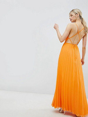 ASOS DESIGN cami pleated maxi dress with strappy back