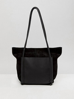 ASOS DESIGN suede and leather double pocket mini shopper