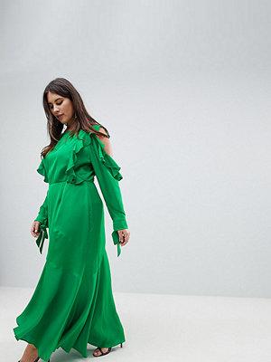 ASOS Curve ASOS DESIGN Curve ruffle sleeve maxi dress with cold shoulder