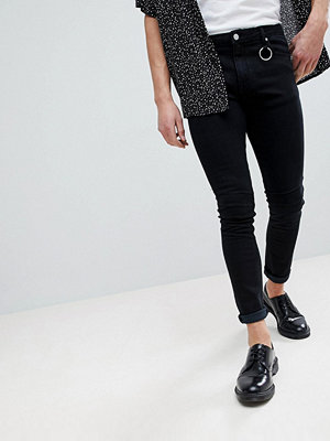 ASOS Super Skinny Jeans In Black With D Ring Detail