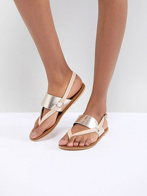 Warehouse Metallic Leather Flat Sandals