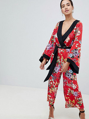 ASOS DESIGN Kimono Jumpsuit With Tipping In Floral