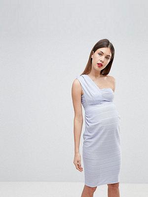 ASOS Maternity ASOS DESIGN Maternity one shoulder bandage midi bodycon dress - Baby blue