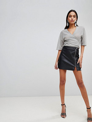 ASOS DESIGN leather look a line mini skirt with zip detail