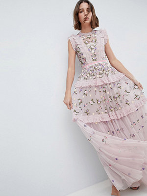 Needle & Thread High Neck Layered Maxi Dress With Embroidery - Lilac